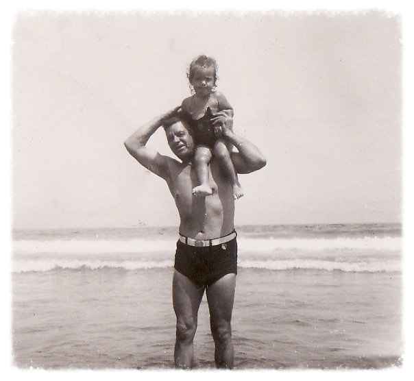 My great-grandfather and mom, Olindo and Carol, somewhere in Rhode Island in the 1940s.