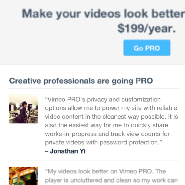 I'm an official spokesperson for Vimeo Pro!