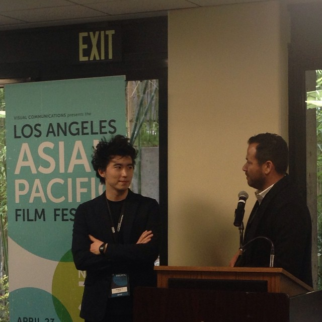 HBO's Mike Lopez introduces Jonathan Yi, director of EAST OF MAIN STREET, at the Los Angeles Asian Pacific Film Festival Filmmaker Reception.