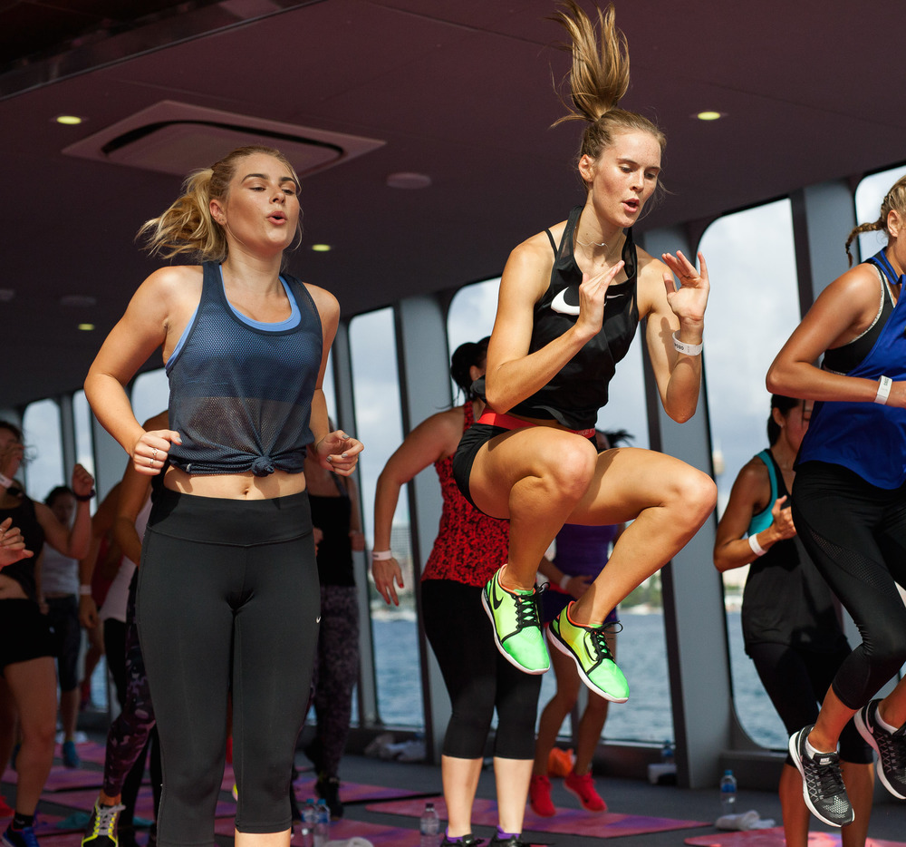 Working up a sweat with Nike on a boat on Sydney Harbour