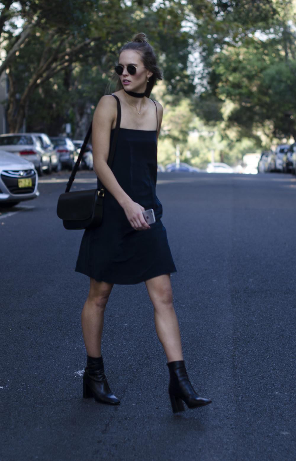 mon purse - black boots - style blog - silk dress