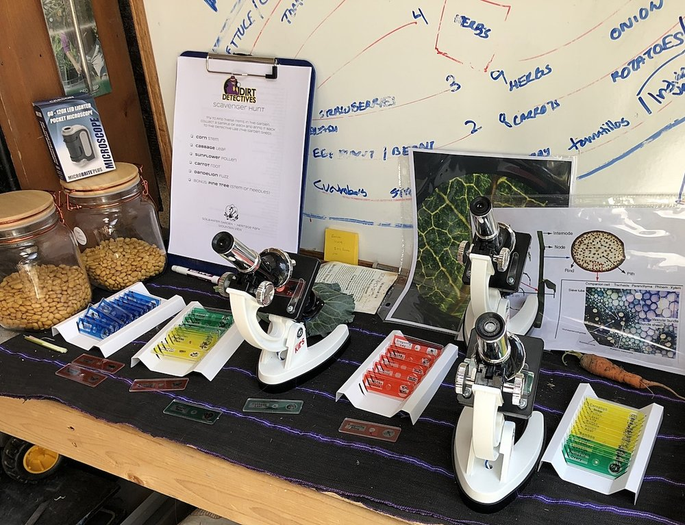 The tool shed at Soil&Water Garden was transformed in a Dirt Detectives laboratory!