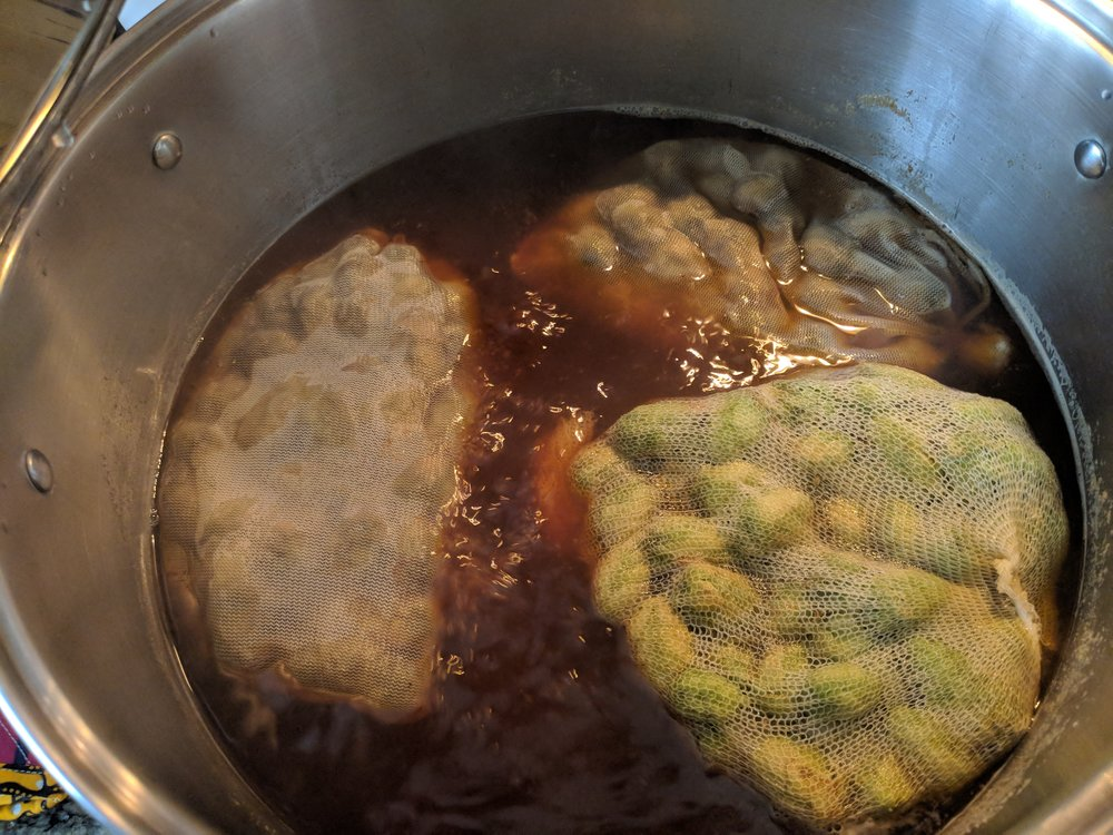 Boil. Then remove hops and cool.