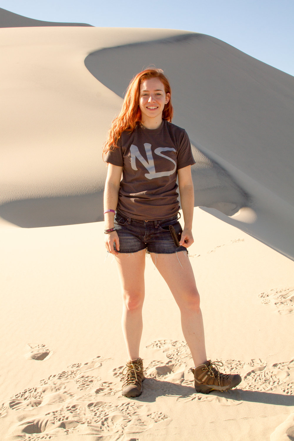 "Michelle on location at the ""singing"" Eureka Sand Dunes in Death Valley, capturing audio samples of their mysterious low rumble"