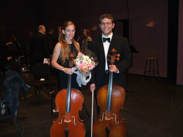 Posing with her friend, cellist Isaac Ribakoff after a performance of a Boccherini cello duet, Irvine, 2007