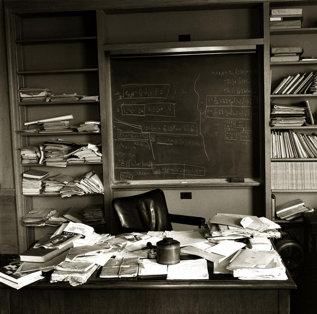 Albert Einstein's office a mere hours after he passed away, as he left it, April 18th 1955. See the story by Ralph Morse, Time Magazine photographer here.
