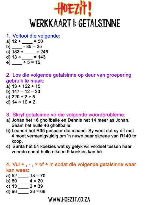 hoezit wiskunde getalsinne werkkaart