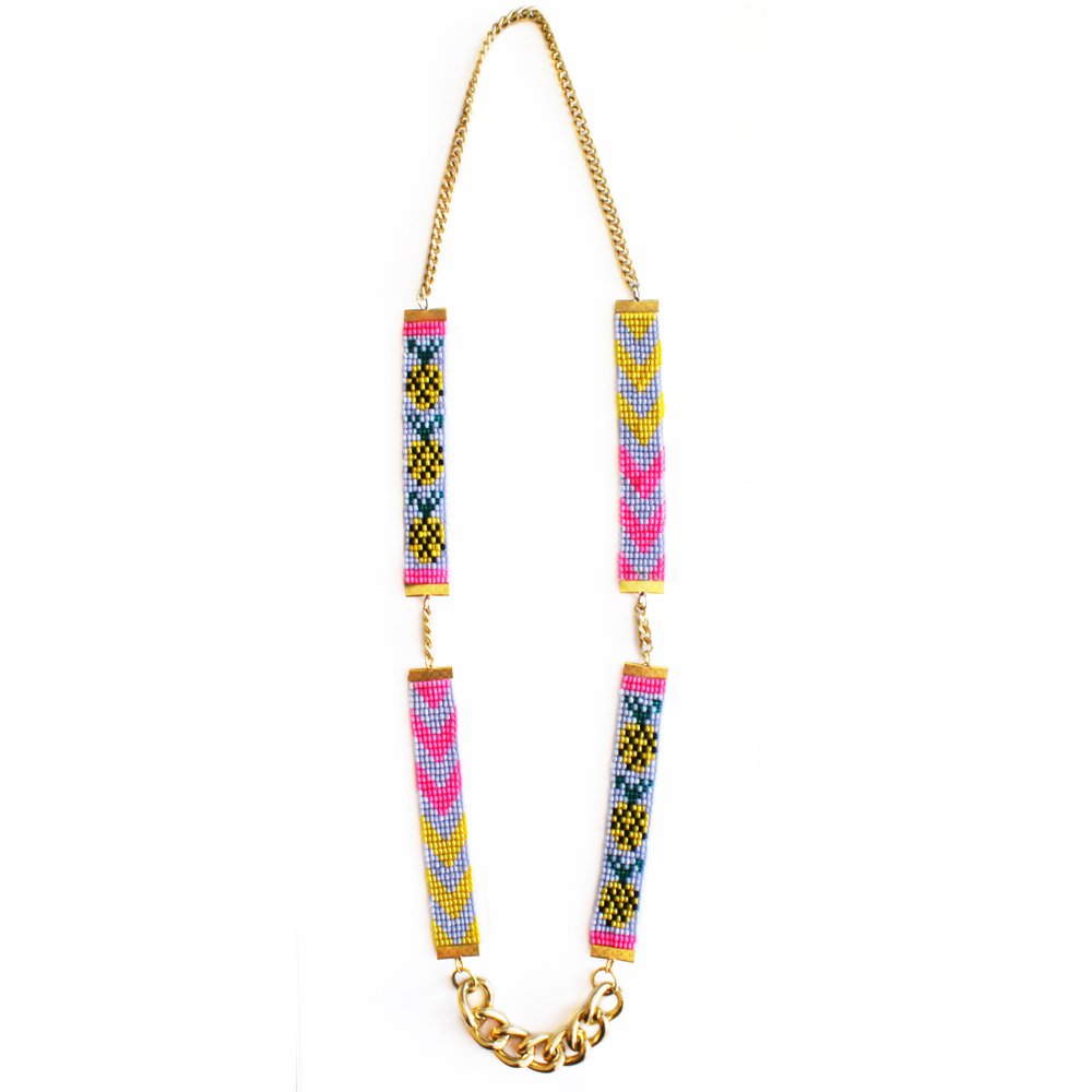 Shh by Sadie designer braided pineapple necklace