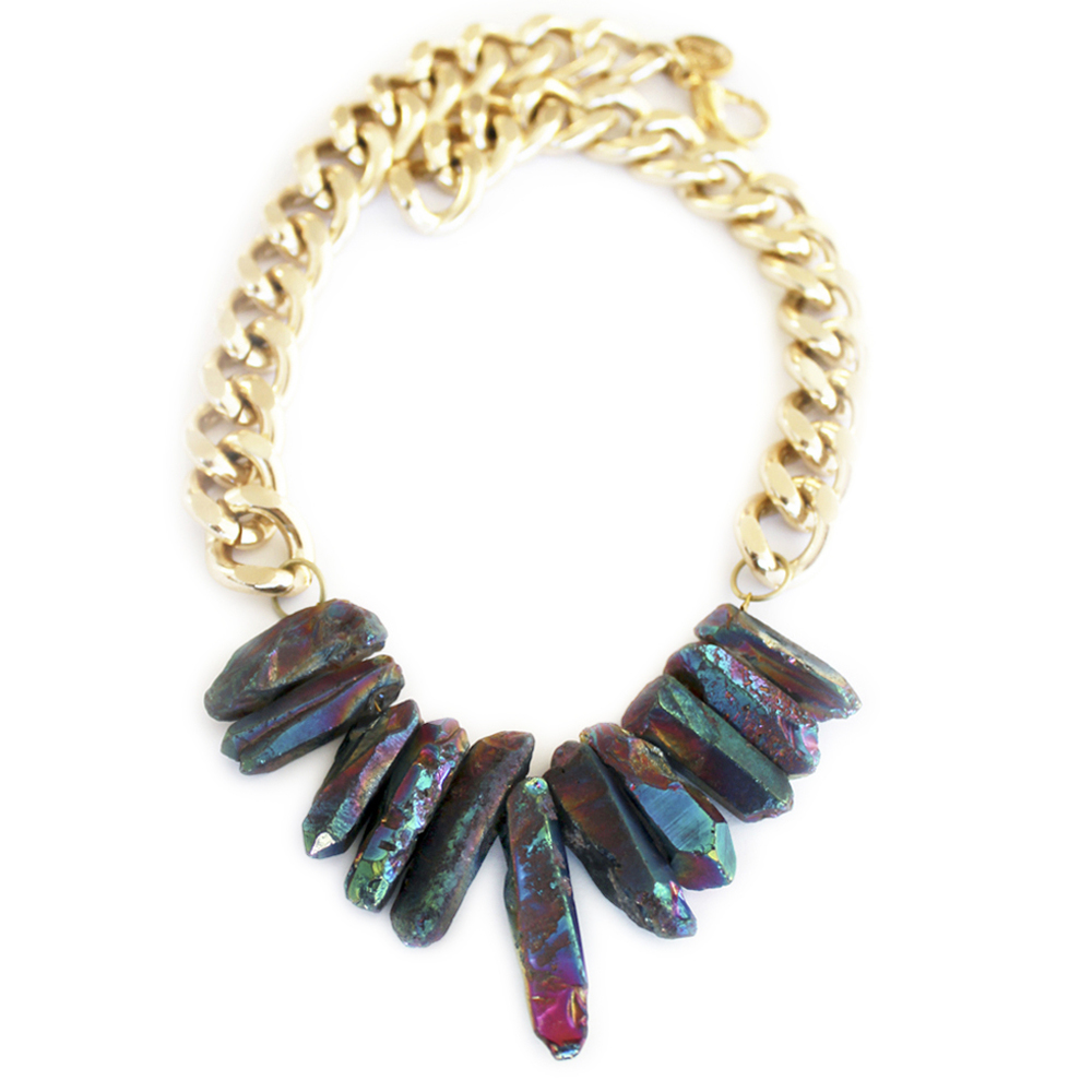 Shh by Sadie designer crystal quartz necklace in mermaid