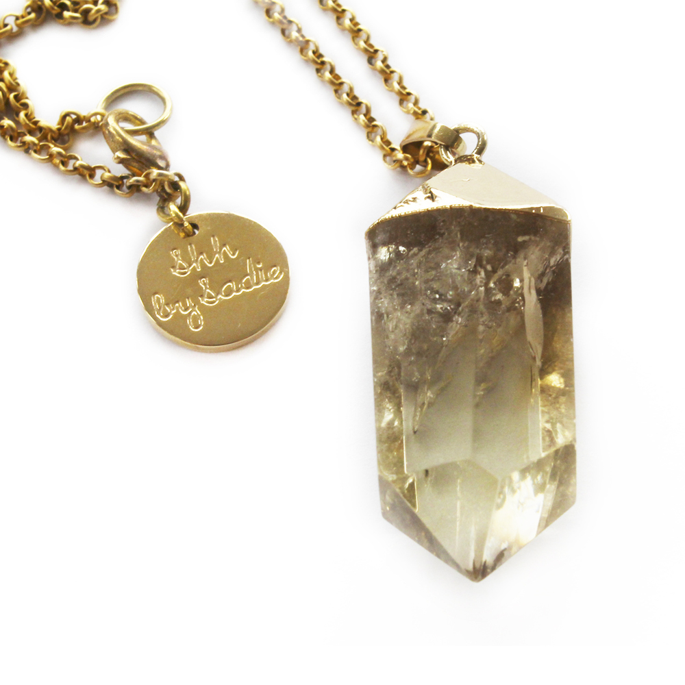 Shh by Sadie Glow lemon quartz and gold designer statement necklace