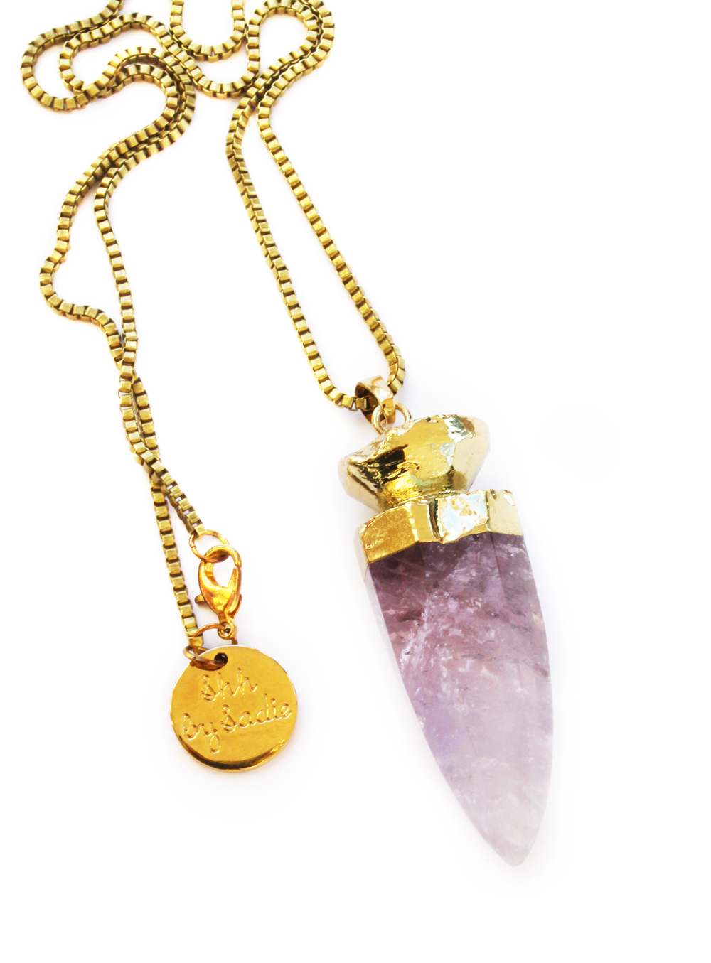 Chunky amethyst pendant with gold box chain statement necklace by NZ jewellery designer Shh by Sadie