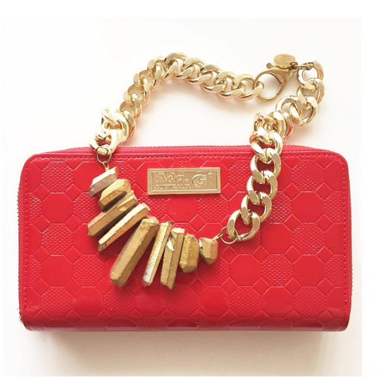 Red leather clutch purse and gold chunky crystal statement necklace