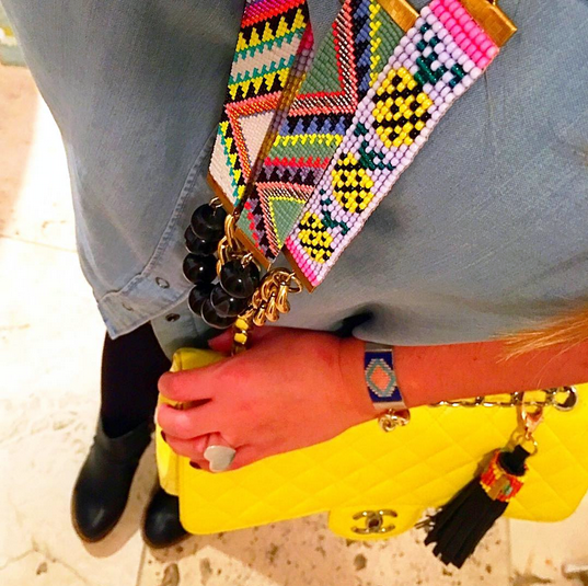 yellow chanel bag decjuba denim shirt outfit inspiration
