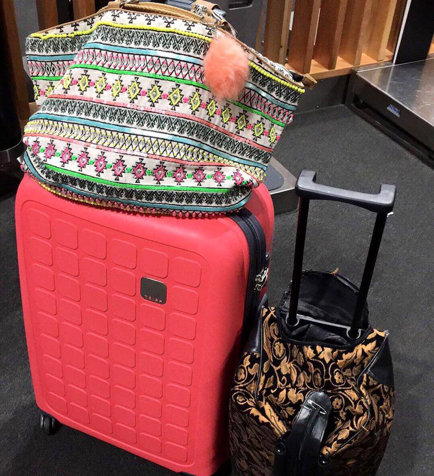 Coral suitcase carpet bag aztec travel stylish luggage