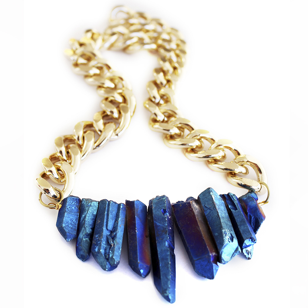 Sapphire blue crystal quartz statement necklace designer jewellery handmade in new zealand