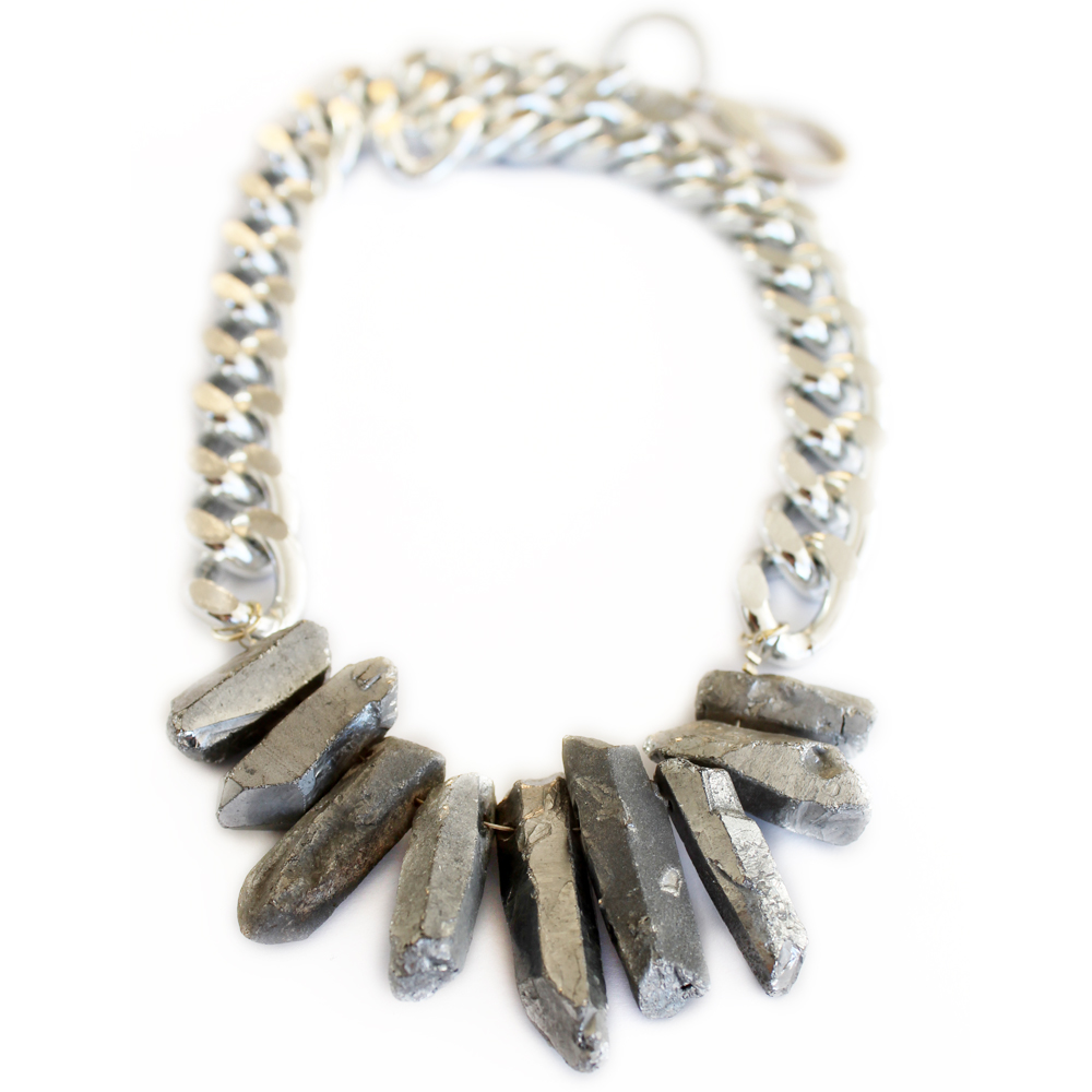 silver designer necklace crystal quartz statement necklace new zealand jewellery