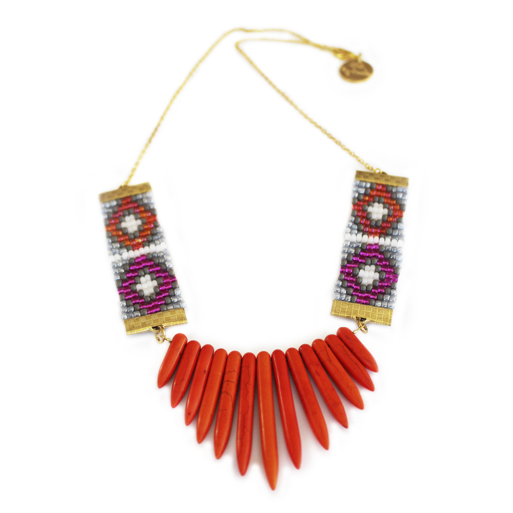 Handmade statement necklace fashion jewelry orange spike necklace by jewellery designer shh by sadie