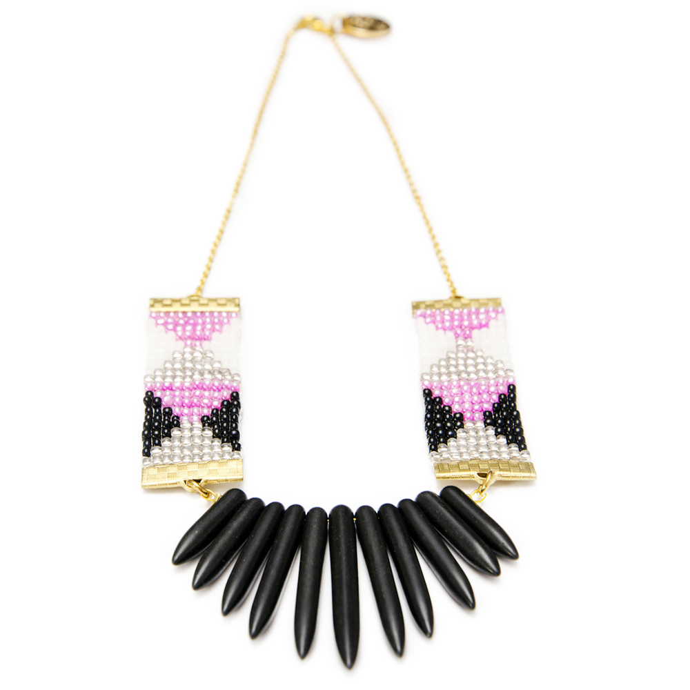 Aztec print necklace black spikes designer necklace made in new zealand
