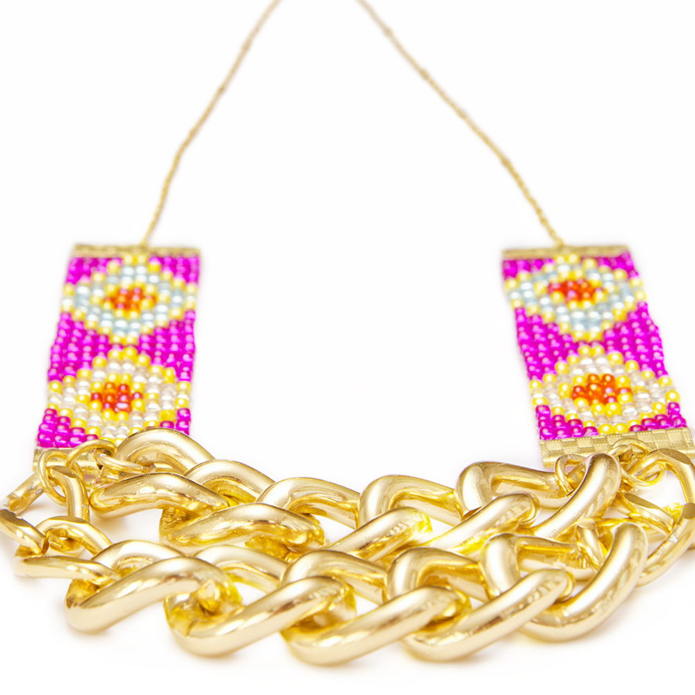 pink statement necklace handmade in new zealand gold chain designer