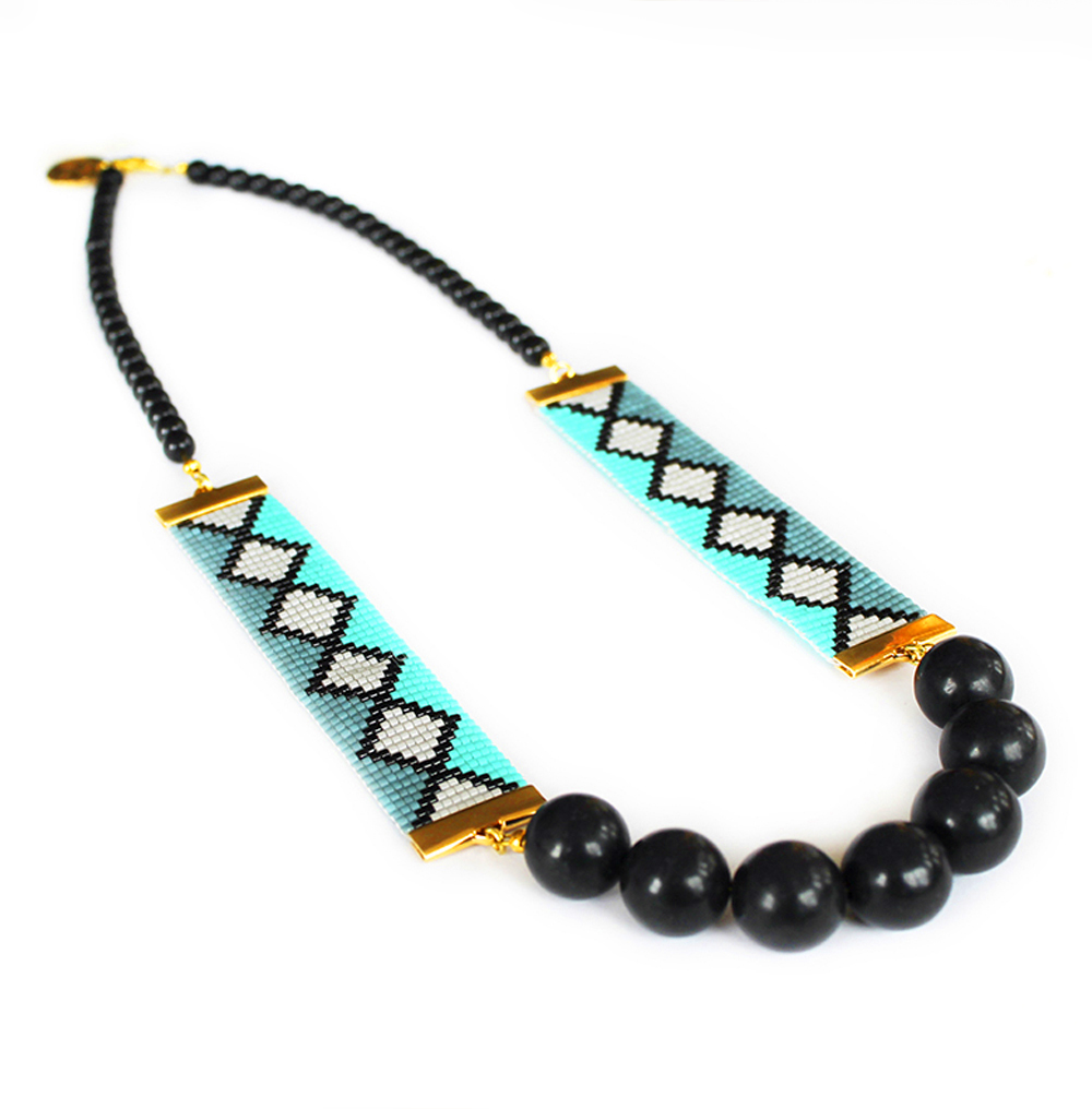 aztec print necklace designer jewelry handmade by shh by sadie
