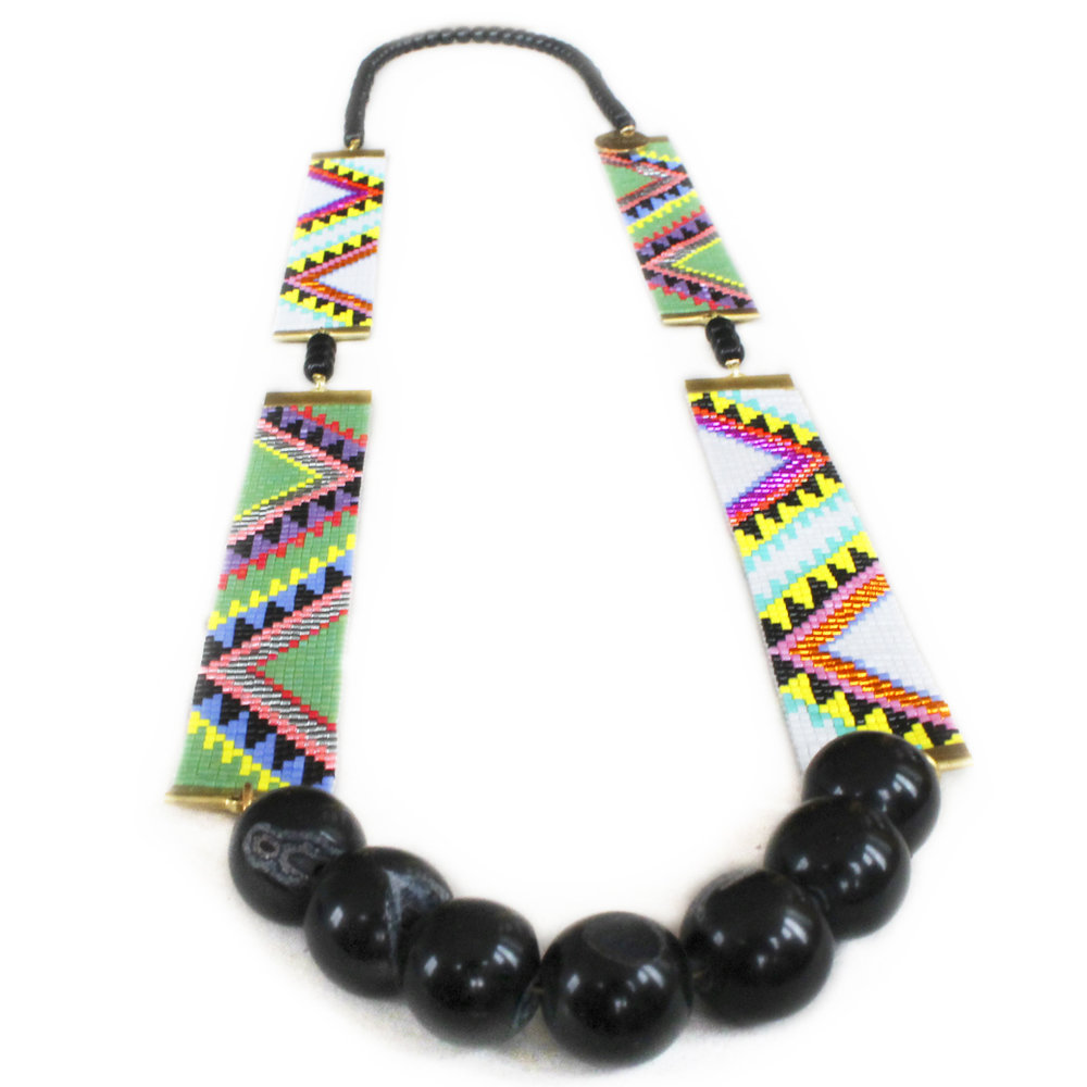 Designer aztec print and gold bead woven necklace by Shh by Sadie New Zealand