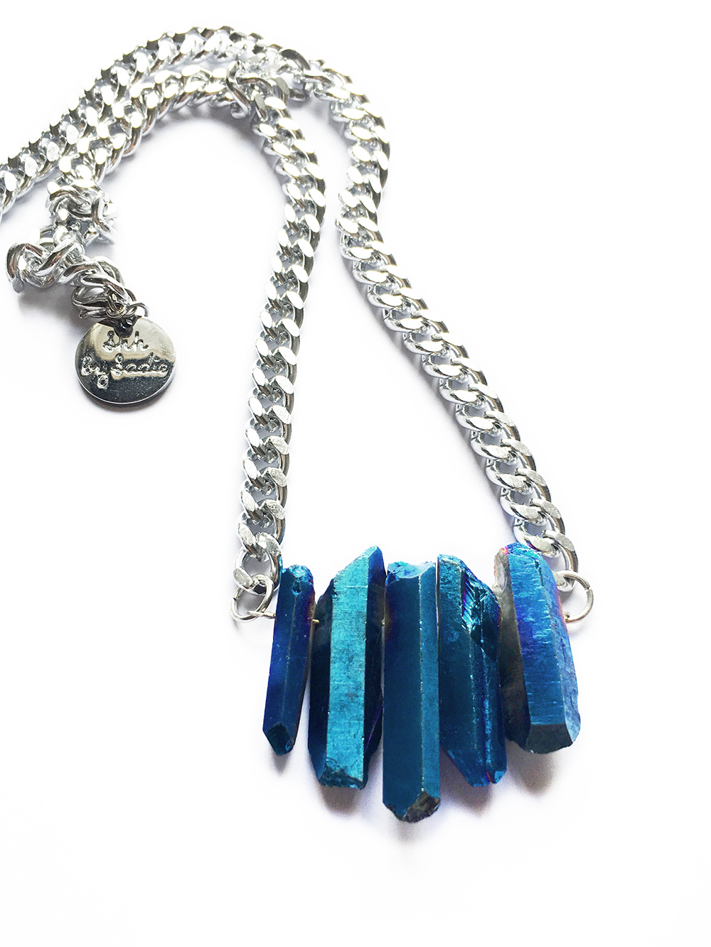 sapphire crystal necklace effortless boho style by shh by sadie