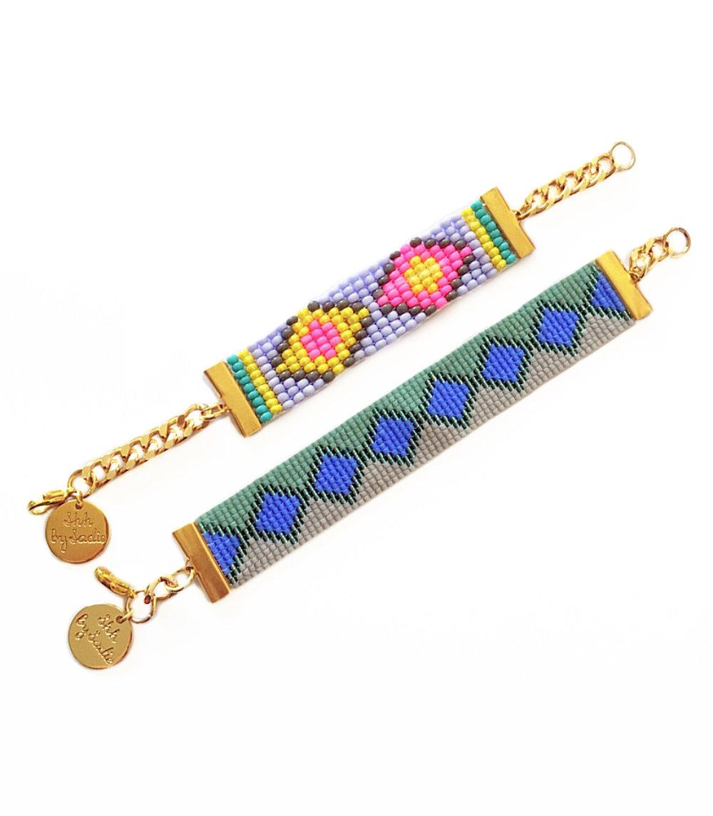 Copy of designer resort wear jewelry aztec print handmade in the UK by British fashion designer sadie hawker