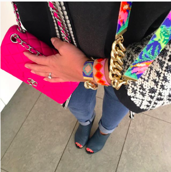 Casual style pink Chanel mini bag jeans statement jewellery by shh by sadie