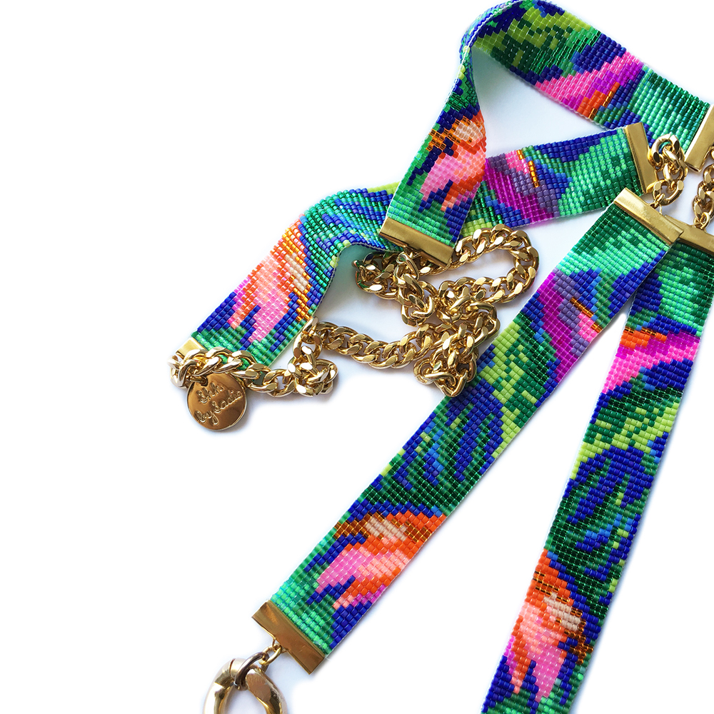 Shh by Sadie tropic exotic jungle print necklace British designer