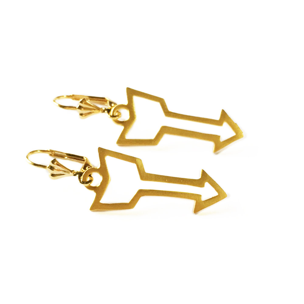 Arrow designer earring by Welsh jewellery designer Shh by Sadie