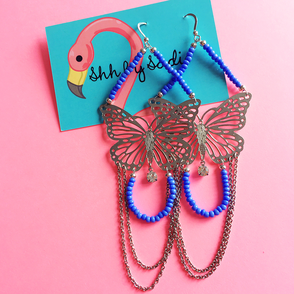 Butterfly earrings by British designer Shh by Sadie