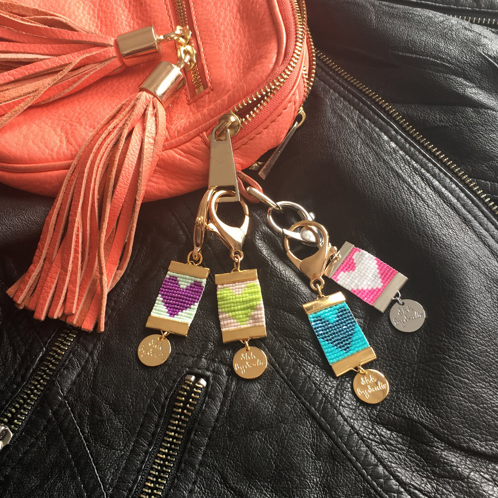 Designer bag charms by British jewellery designer shh by sadie