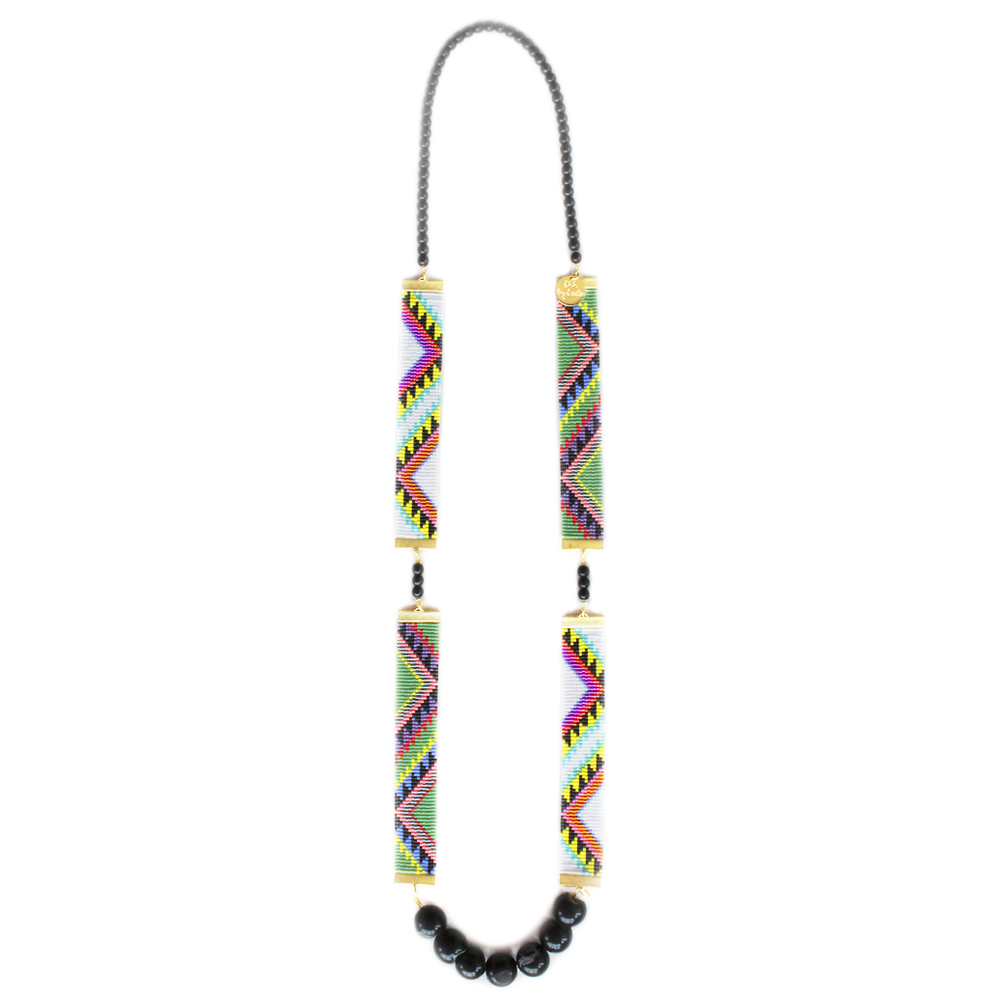 Shh by sadie Acapulco tribal print designer necklace