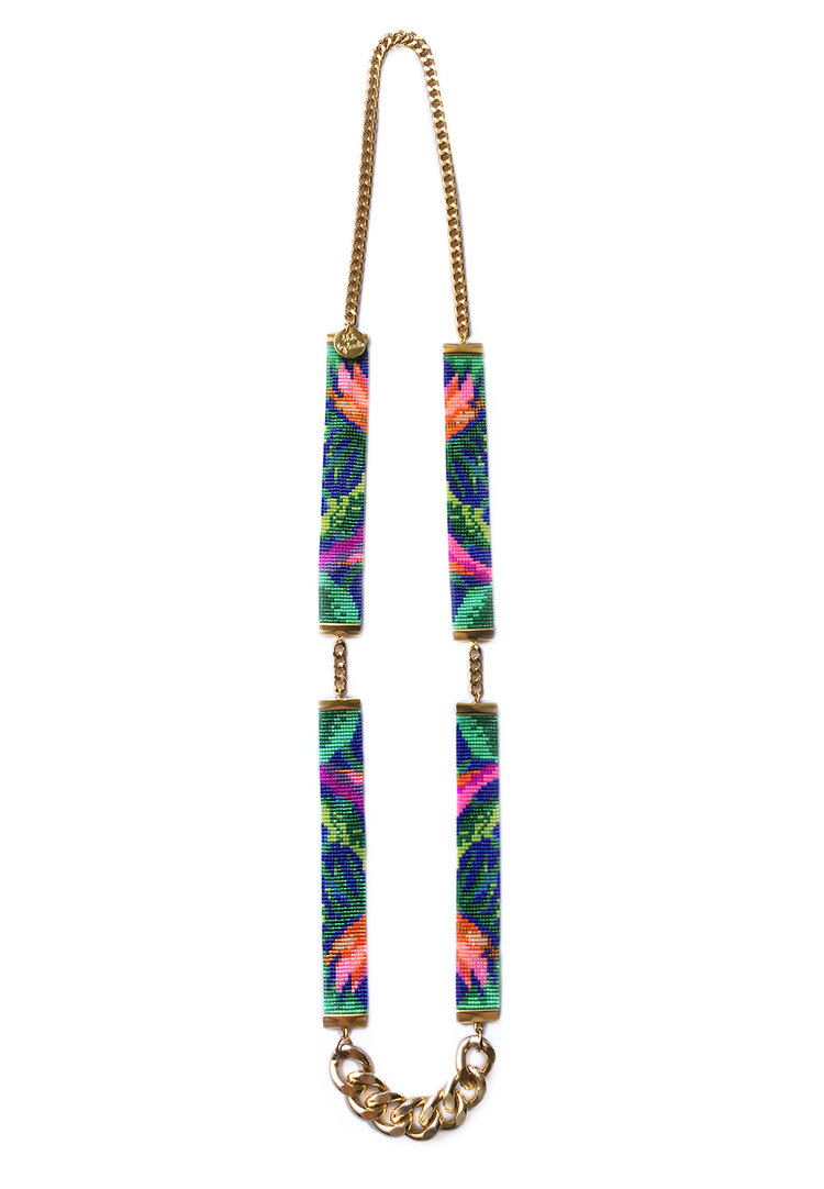 Shh by sadie tropical jungle print designer necklace