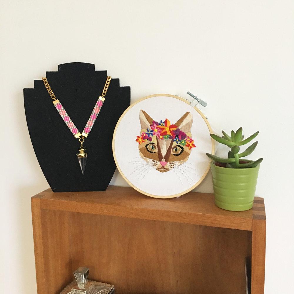 hobbycraft geometrie cat modern embroidery kit