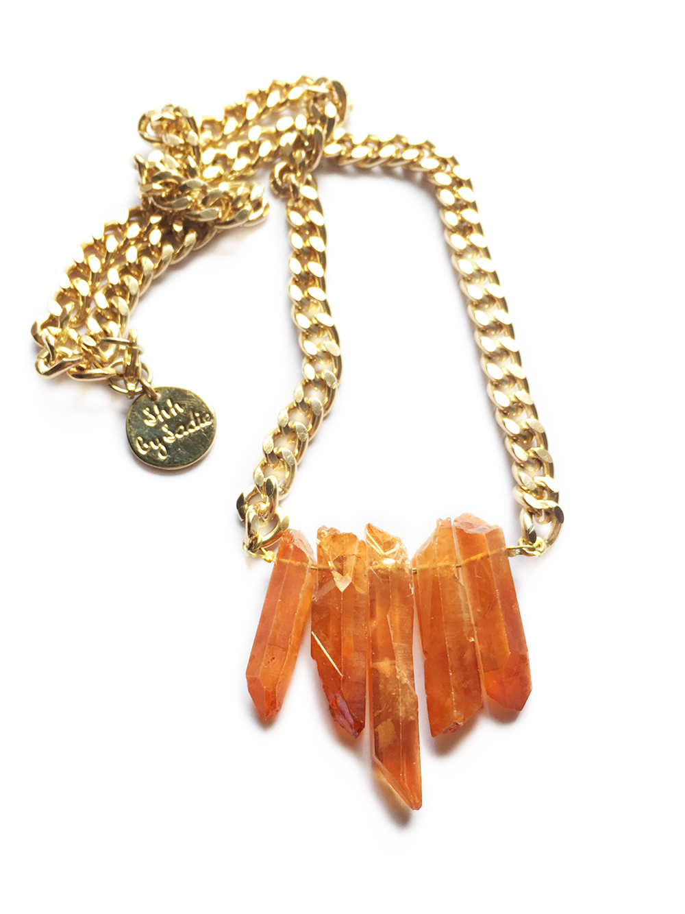 Amber crystal quartz necklace handmade in UK by shh by sadie designer jewellery