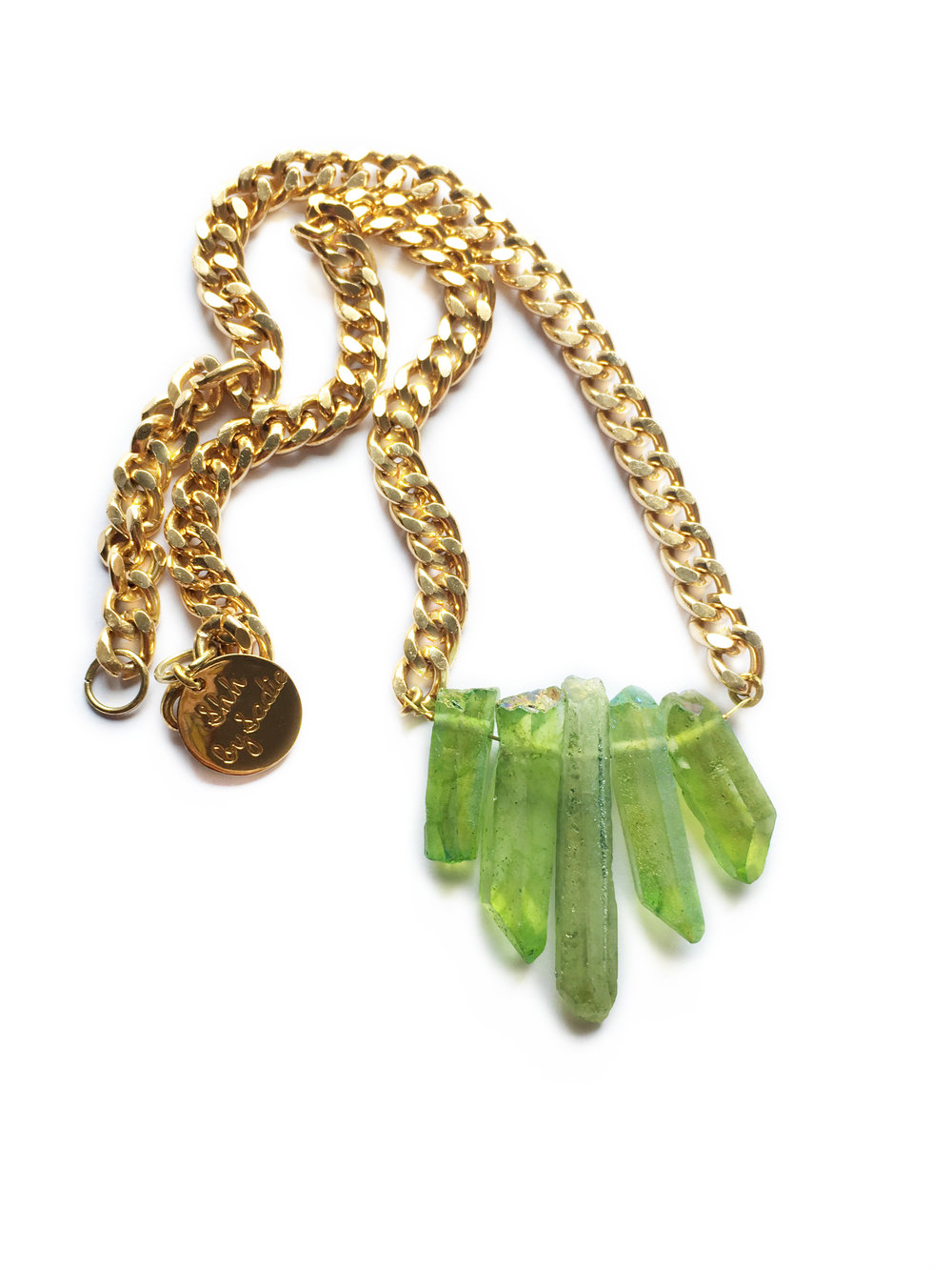 Green crystal quartz necklace handmade in England by British jewellery designer shh by sadie