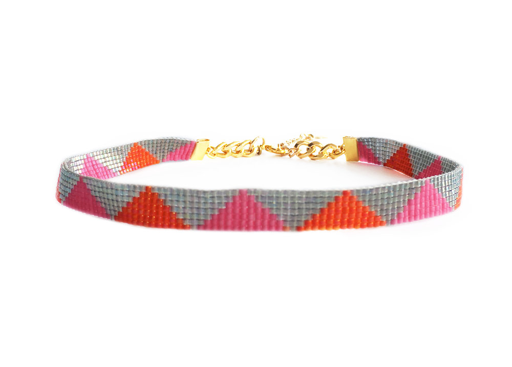 pink and orange colourful designer choker by luxury designer shh by sadie