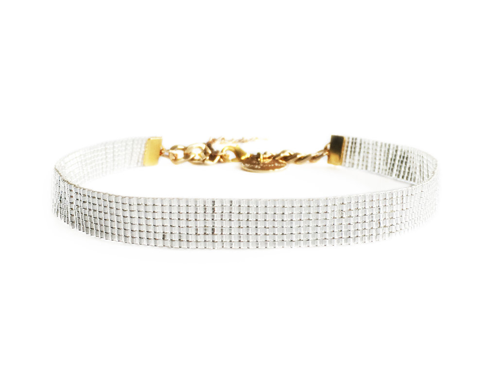 luxury designer silver choker by British jewellery designer shh by sadie