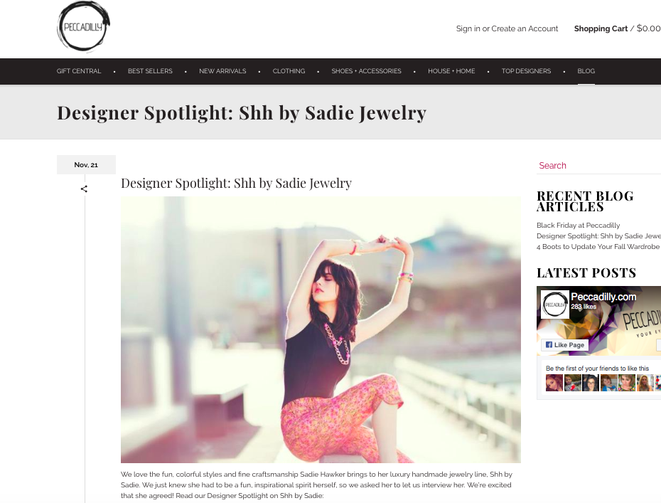 Shh by sadie interview at Peccadilly.com
