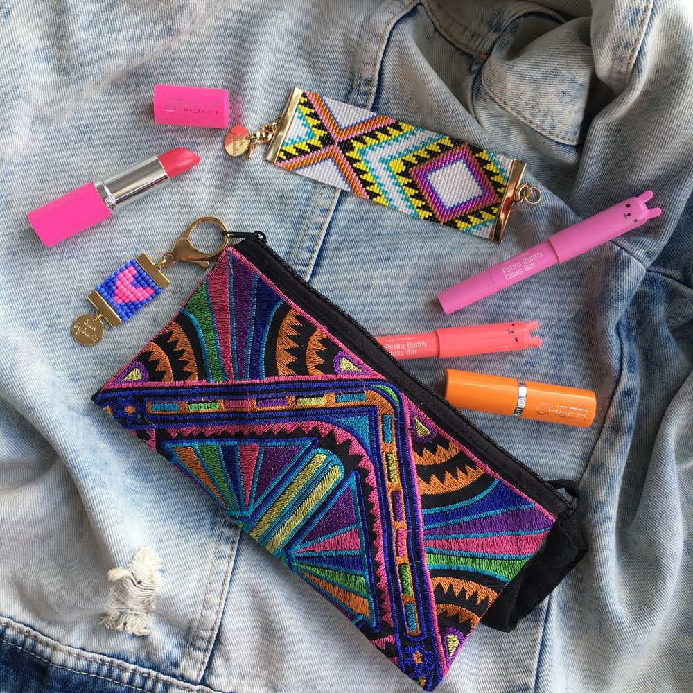 Colourful festival style clutch bag Shh by Sadie