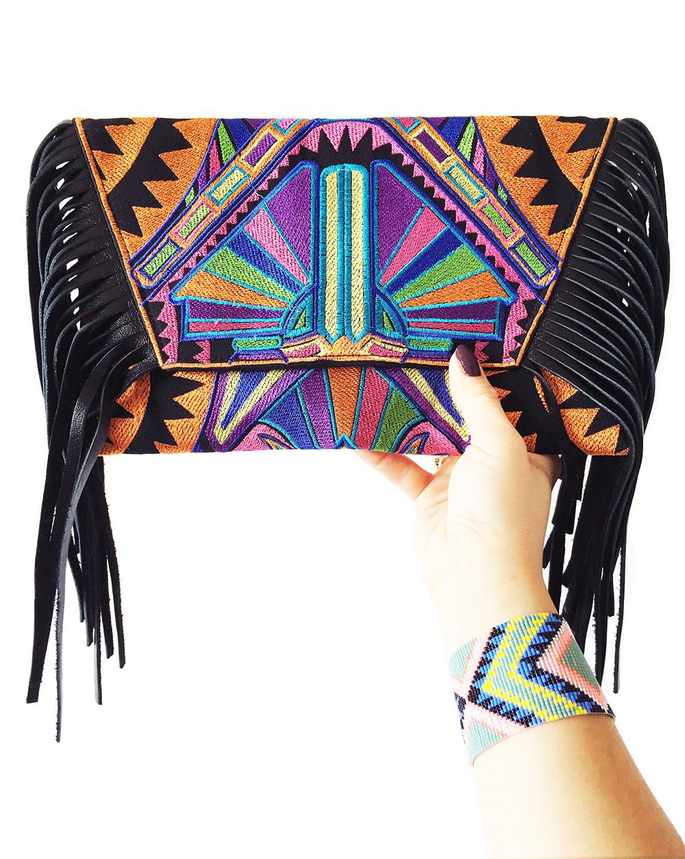 Orange tribal print colourful fringe bag