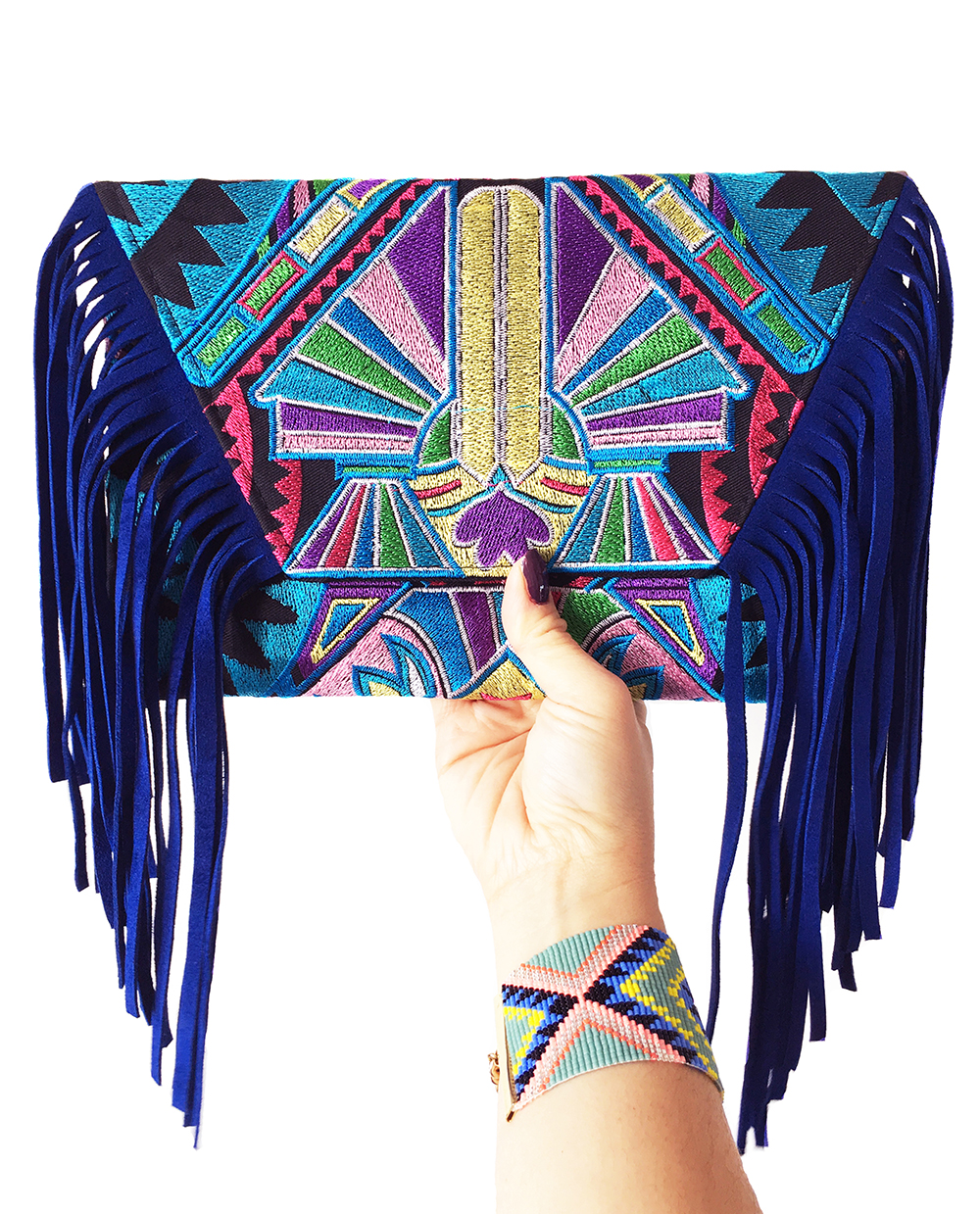 Blue suede fringe bag Shh by Sadie
