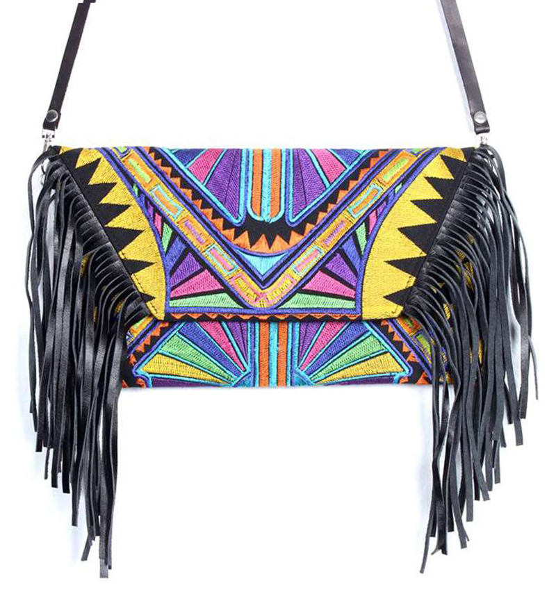 Yellow leather fringe bag tribal print Shh by Sadie