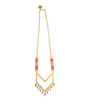 Chevron orange statement necklace resort wear summer jewelry