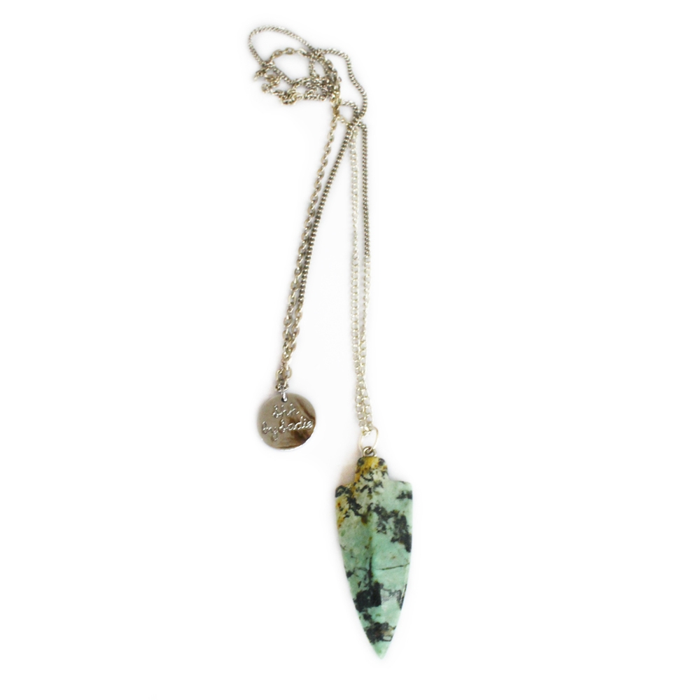 long amazonite arrow pendant festival style necklace
