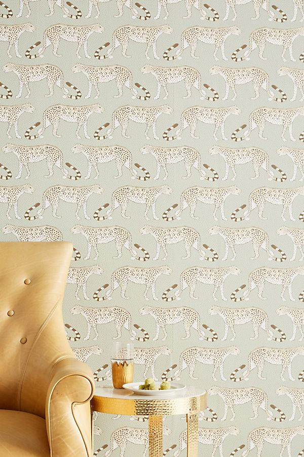 leopards wallpaper anthropologie