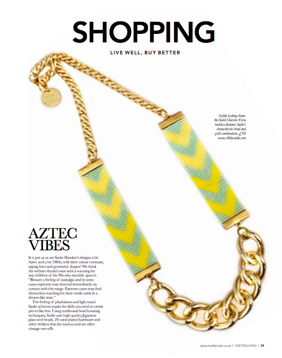 Shh by Sadie Chevron Priestess necklace in Exeter Living Magazine, July 2018