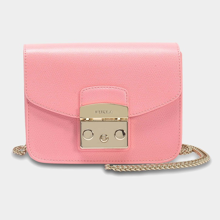 Pink Furla mini metropolis leather handbag