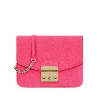 Pink furla metropolis crossbody bag